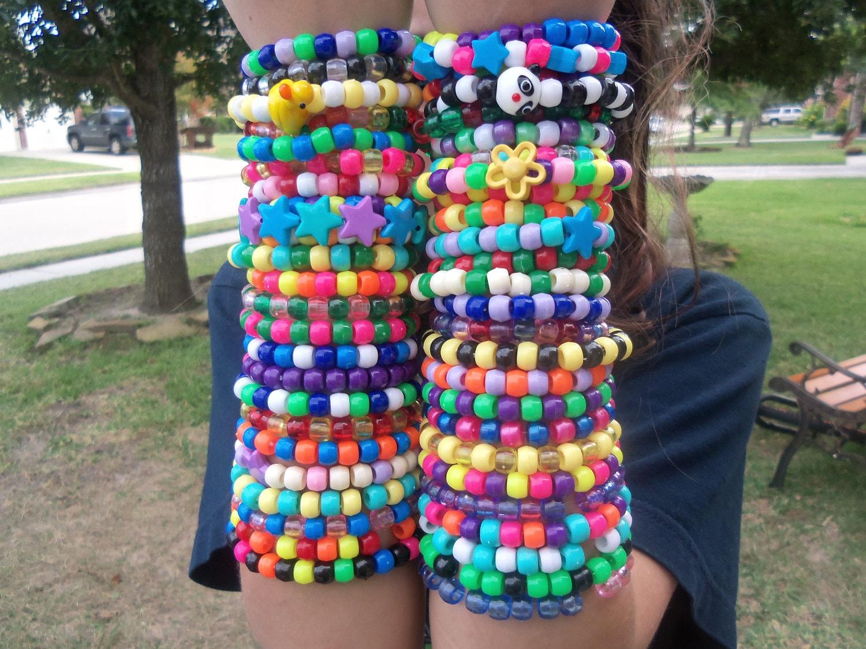 Kandi Pony Beads And Rave: 50 Bright Kandi Rave Bracelets Cute And Neon
