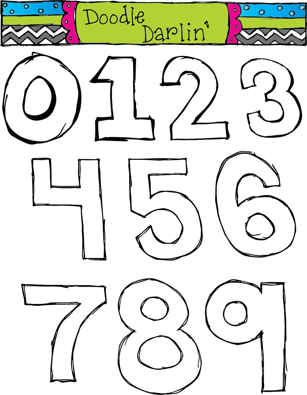 basic numbers blackline clipart set instant by doodledarlin