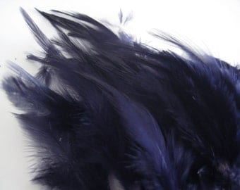 Navy Blue Hackle Hen Feather Fringe / 20 loose feathers