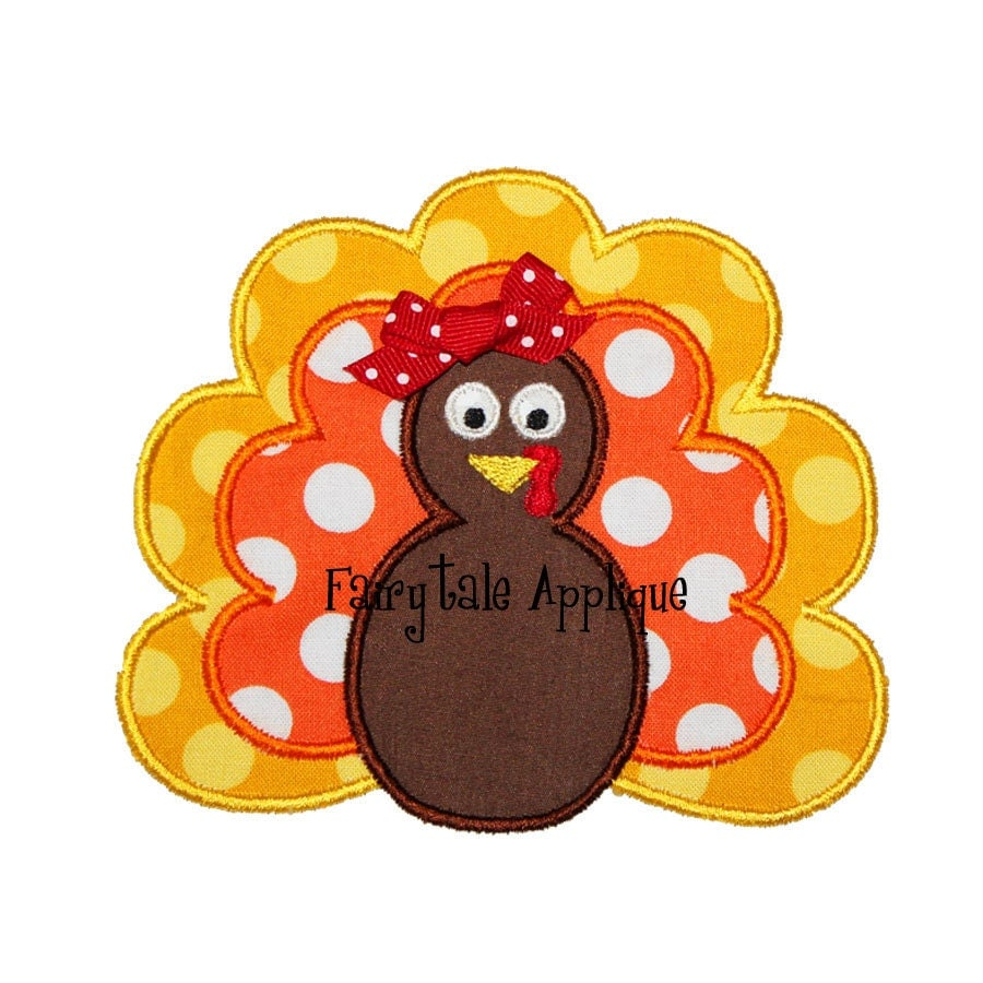 Digital machine embroidery design turkey applique