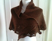 Handknit Lace Edge Shawl in Chocolate Brown Alpaca - Romantic - Classic - Made To Order