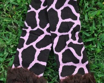 Pink Giraffe with ruffle Leg Warmers