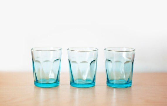 Vintage Shot Glasses - set of 3 - aqua
