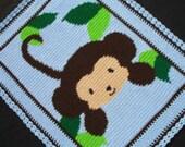 Monkey Baby Blanket - Boy Baby Blanket - Crochet - Blue