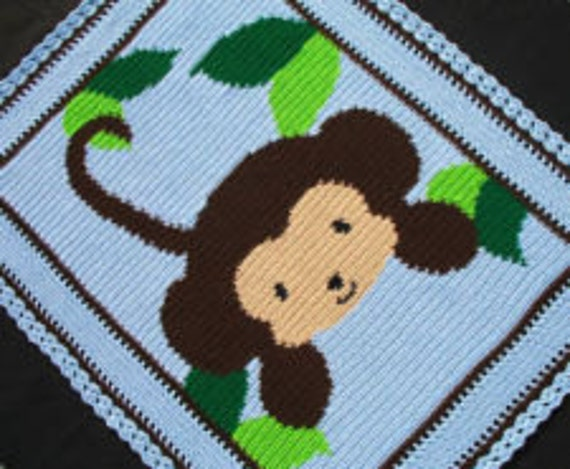 Monkey Baby Blanket - Boy Baby Blanket - Crochet - Blue