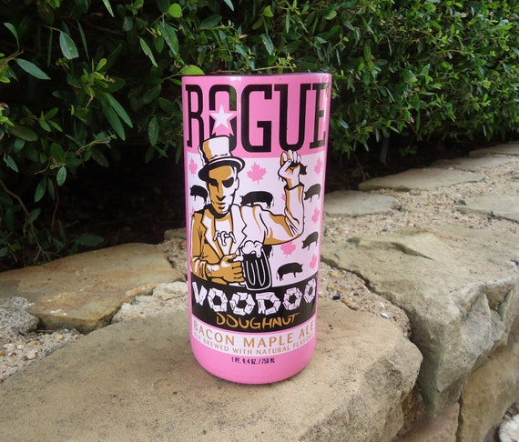RARE Recycled Beer Bottle Glass from a Rogue Voodoo Doughnut Bacon Maple Ale Bottle 22oz