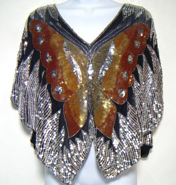 vintage sequin butterfly top