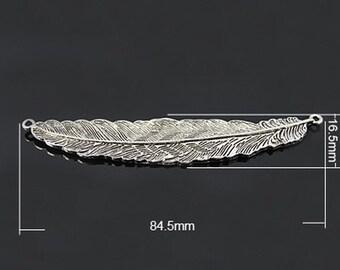 1PC Antique Silver Feather Pendant Connector
