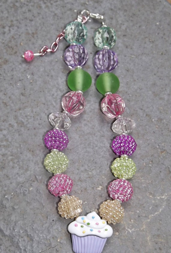 Cupcake Chunky Necklace Pink Purple Green White Beads