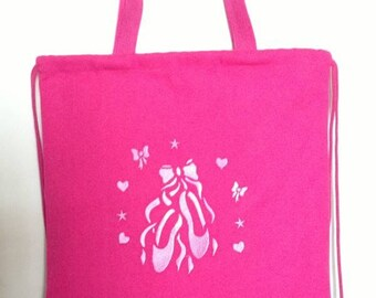 Ballet Drawstring Backpack-Ballet pattern-Dance bag-Embroidered cinch bag- Dance Tote Bag-embroidery lining tote bag
