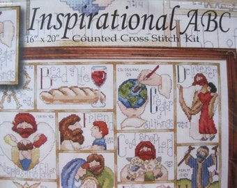 Alphabet Counted Cross Stitch Kit-Biblical Counted Cross Stitch-Cross Stitch Kit-Design Works Crafts-Craft Supply Kit