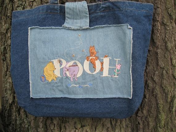 Winnie the Pooh Tote Bag-Classic Winnie the Pooh-Diaper Bag-Winnie the Pooh Diaper Bag-Large Tote Bag-OOAK Tote Bag