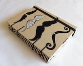Handmade Fabric Journal - Coptic Stitched - Mustache