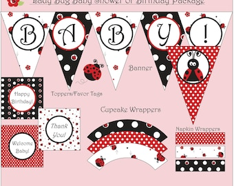 Lady Bug Party Package - Birthday or Baby Shower - Instant Download