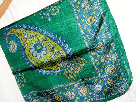 Vintage Green Paisley Print Silk Scarf NEW