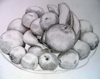 Vase with fruits nr.2  Pencil  drawing on paper