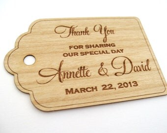 Thank You Tags (50) / Wedding Tags / Wooden Tags / Gift Tags / Shower Favor Tags / Labels Hang Tags  - Wood Personalize