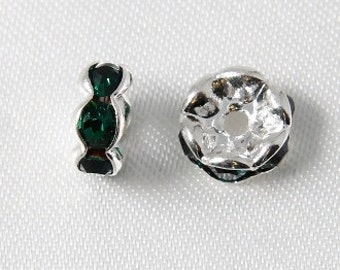 10 pcs - 6mm Rhinestone Rondelles Silver With Emerald Green