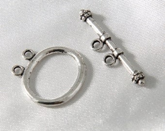 2 sets - 22mm Antiqued Silver Smooth Oval Two Strand Toggle Clasps