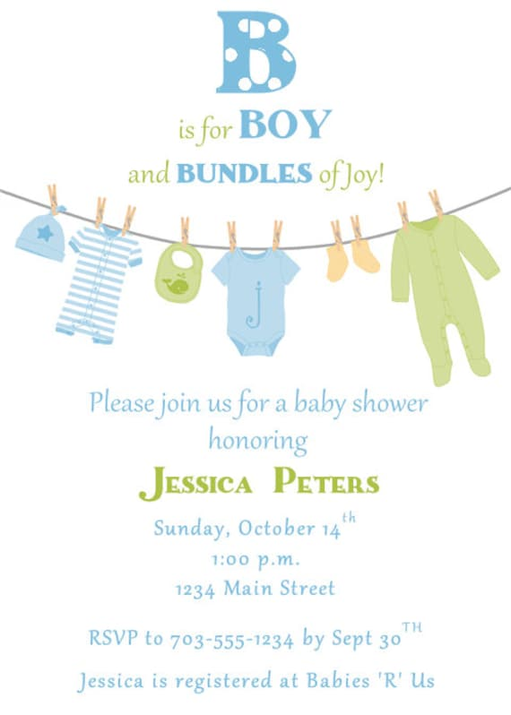 Items similar to clothesline baby shower invitation boy for Baby clothesline decoration baby shower