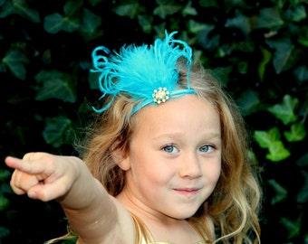Modern Flapper inspired 1920s headband in turquoise, Gatsby headband, dance costume, girls 1920s headpiece, girls gatsby headpiece