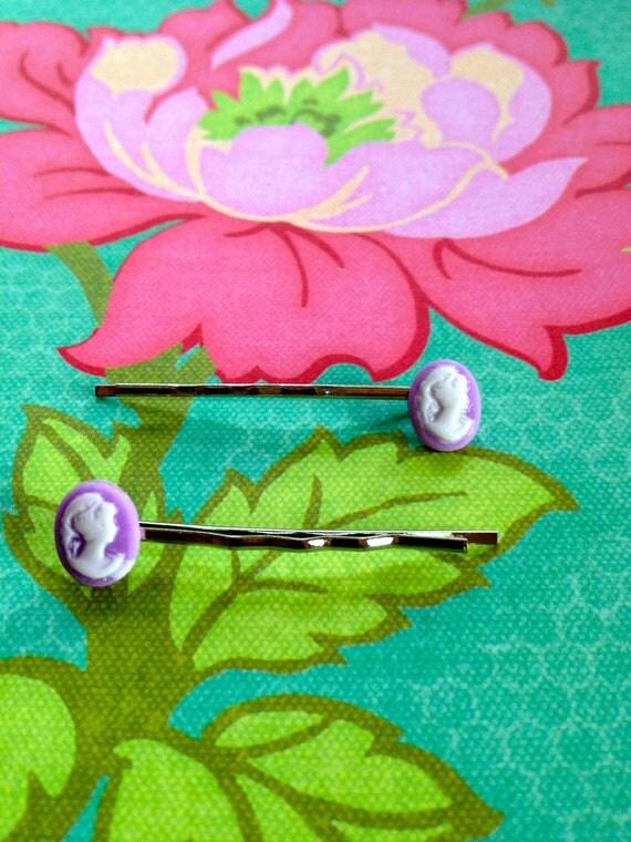 Lilac Cameo Hair Pin (Pair)