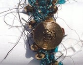 Dark Teal and Copper Wrap Crocheted Necklace or Bracelet with Chunky Shell Beads and Teal Crystals