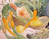 S A L E - Watercolor, Vintage Picture, Kitchen-Vegetable Scene, Greens & Yellows, Home Decor