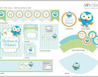 Hoot The Owl Birthday Party Set - DIY Printable