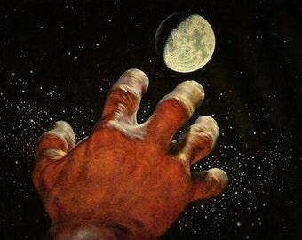 Vintage 1959 Fridge Magnet Hand Reaching for the Moon Starry Night Slightly Creepy