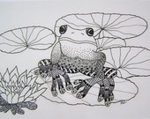 Hand drawn Frog design notelet/gift card with plain white C6 envelope. (148mm x 105mm)