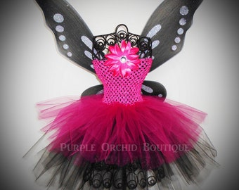 DIVA Tutu Dress - Fairy Set - Pink and Black - Includes Wings