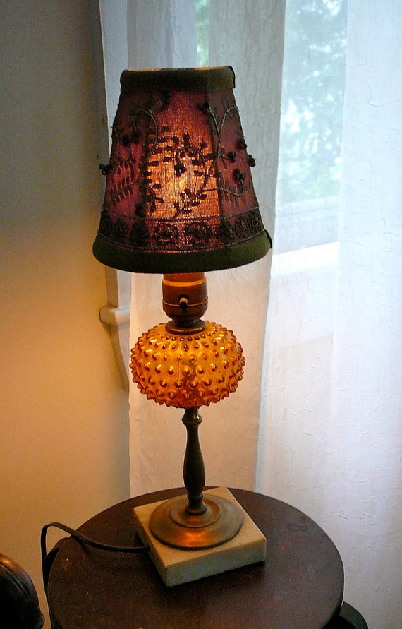 Sale Vintage Amber Hobnail Table Lamp And Embroidered Shade