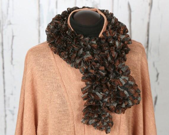 brownish-black ribbon scarf