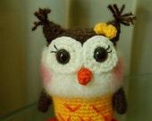 Yellow baby owl - crocheted amigurumi toy