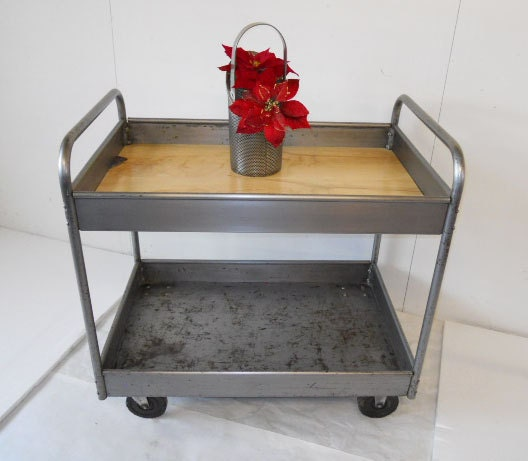 Industrial Kitchen Cart Bar Cart Serving Cart: Industrial Metal Bar Cart Serving Cart Kitchen Cart