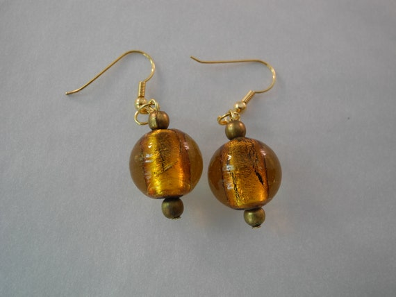 Gold Glass Bead Earrings