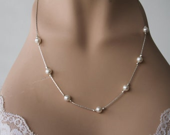 Bracelet, Necklace and Earrings. Pearls Jewelry Set. Bridesmaid, Flower Girl Gift, Bridal Jewelry