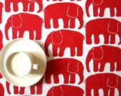 Table runner white with red elephants , also napkins, pillow , curtains available, great GIFT