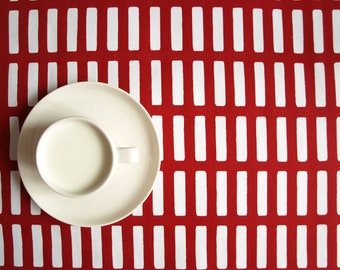 Tablecloth white red stripes striped tablecloth , also table runner , pillow cover , curtains available, great GIFT