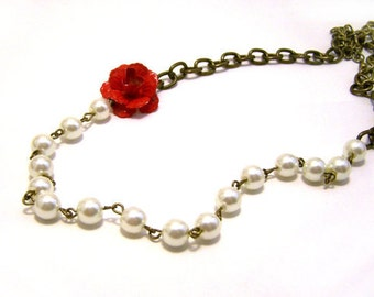 Red Rose and Ivory Glass Pearl Beaded Antiqued Brass Romantic Necklace / Gift for Her