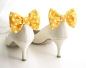 Yellow bridal Shoe clips . Yellow  polka dots Bow tie, Yellow and white, Shoe Bow tie clips, Prop, Photographer, Wedding bow tie
