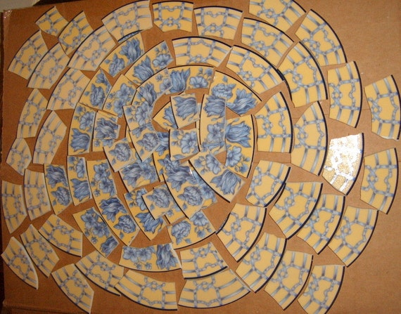 Mosaic Porcelain Tiles, Coventry Palace Gardens Plate, Hand Cut Mosaic  Tiles, Yellow Mosaic Tiles,Mosaic Supplies