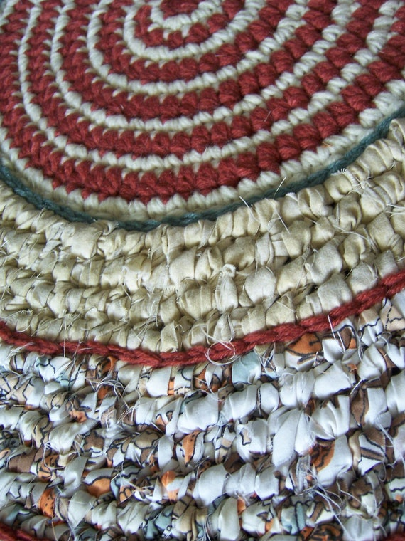 Crochet Rag Rug Toothbrush Woven Rug Non Skid Backing Mixed Media Rug Kitchen Rug Folk Art Throw Rug