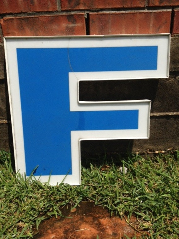 "Large Reclaimed White and Blue Plastic Sign Block Letter ""F"", Cracked on Top, Florida Gator ""F"", Home Decor, Office Decor, Industrial Decor"