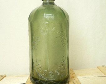 Very rare Vintage Romanian Dark  Green Seltzer Bottle 1952 - home decor - bars decor - industrial decor