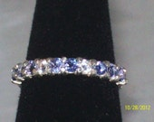 Tanzanite and White Sapphire Sterling Silver Stacker Band, Sz. 6.5