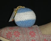Blue and White Beginners Regulation Weight Hacky Sack Footbag