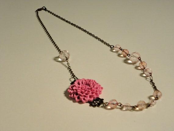 Asymmetrical Pink Flower Necklace