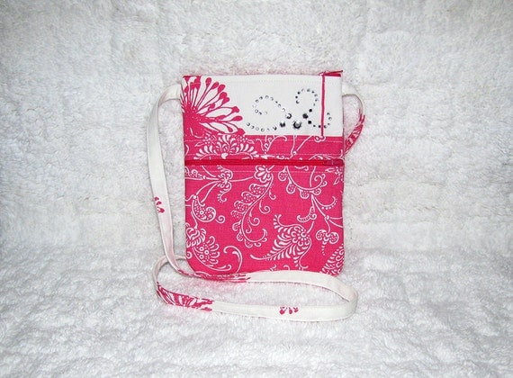 Small Purse Long Strap Hot Pink and White Home Decor Fabric, Large Rhinestone Accent - Womens Shoulder Bag